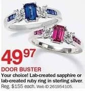 Bon-Ton Black Friday: Lab-Created Sterling Silver Rudy Ring for $49.97