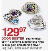 Bon-Ton Black Friday: Effy Diamond & Gemstone Rings 18K Gold & Sterling Silver for $129.97