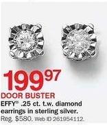 Bon-Ton Black Friday: Effy 0.25-cttw. Diamond Earring In Sterling Silver for $199.97