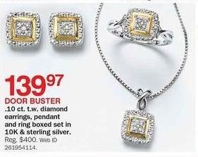 Bon-Ton Black Friday: Diamond Earrings 0.1-cttw. w/ Pandant & Rings 10K Sterling Silver Boxed Set for $139.97