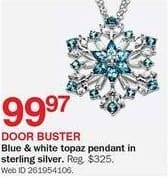 Bon-Ton Black Friday: Blue & White Sterling Silver Topaz Pendant for $99.97