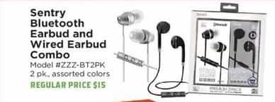 H-E-B Black Friday: Sentry Bluetooth Earbud & Wired Earbud Combo for $10.00