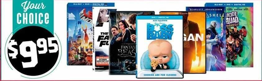 H-E-B Black Friday: Boss Baby, Logan, Suicide Squad & More DVD's for $9.95