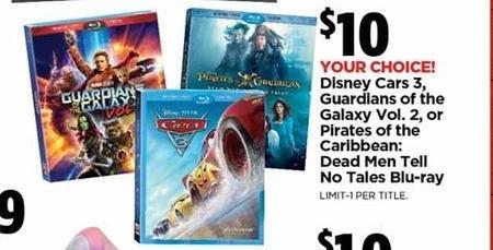 H-E-B Black Friday: Disney Cars 3 (Blu-ray) for $10.00
