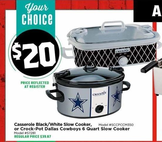 H-E-B Black Friday: Casserole Black/White Slow Cooker for $20.00