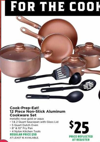 H-E-B Black Friday: Cook-Prep-Eat! 12-pc. Non-Stick Aluminum Cookware Set for $25.00