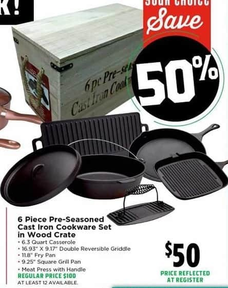 H-E-B Black Friday: Cast-Iron 6-pc. Seasoned Cookware Set in Wood Crate for $50.00