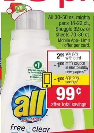 CVS Black Friday: All Laundry Detergent 30-50 oz. w/Card for $0.99