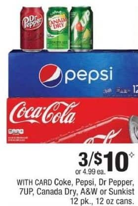 CVS Black Friday: (3) Select 12-Pack from Coke, Pepsi, Dr Pepper & More w/ Card for $10.00