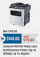 MacMall Black Friday: Lexmark MX317dn Mono Laser Multifunction Printer for $149.00