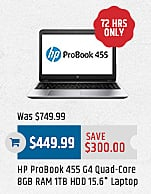 MacMall Black Friday: HP ProBook 455 G4 Quad-Core 8GB RAM 1TB HDD 15.6 Laptop for $449.99