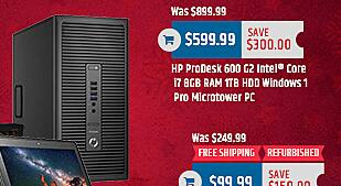 MacMall Black Friday: HP ProDesk 600 G2 Intel Core i7 8GB RAM 1TB HDD Windows 1 Pro Microtower PC for $599.99