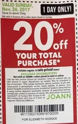 Joann Black Friday: Total Purchase - 20% OFF