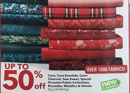 Joann Black Friday: Sew Sweet Fabric Collection, Brocades, Metallics, & Velvets - 50% OFF