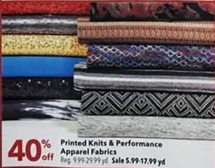 Joann Black Friday: Performance Apparel Fabrics - 40% OFF
