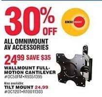 Navy Exchange Black Friday: Omnimount Wallmount Full-Motion Cantilever for $24.99