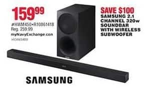 Navy Exchange Black Friday: Samsung 2.1 Channel 320W Soundbar w/ Wireless Subwoofer for $159.99