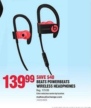 Navy Exchange Black Friday: Beats Powerbeats Wireless Headphones for $139.99