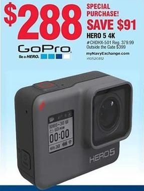Navy Exchange Black Friday: GoPro Hero 5 4K Camera for $288.00