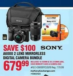 Navy Exchange Black Friday: Sony A6000 Mirrorless Digital Camera Bundle w/ 2 Lens for $679.99