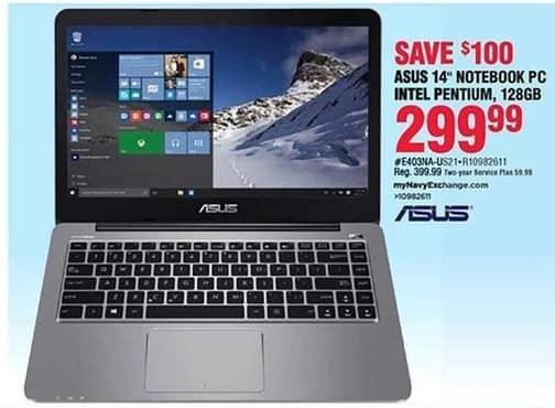 Navy Exchange Black Friday: Asus 14'' Intel Pentium 128GB Notebook PC for $299.99