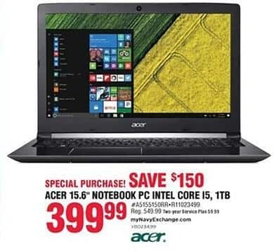 Navy Exchange Black Friday: Acer 15.6'' Intel Core I5 1 TB Notebook PC for $399.99