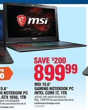 Navy Exchange Black Friday: MSI 15.6'' Intel Core I7 1TB Gaming Notebook PC for $899.99