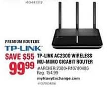 Navy Exchange Black Friday: TP-Link AC2300 Wireless MU-Mimo Gigabit Router for $99.99