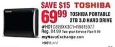 Navy Exchange Black Friday: Toshiba 3.0 2TB Portable Hard Drive for $69.99