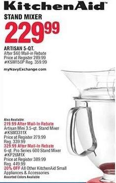 Navy Exchange Black Friday: KitchenAid Artisan 5-Qt. Stand Mixer for $219.99 after $60.00 rebate