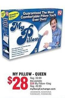 Navy Exchange Black Friday: My Pillow - Queen for $28.00