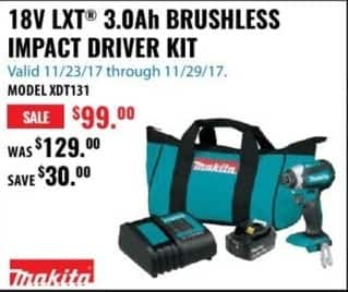 ACME Tools Black Friday: Makita 18V LXT 3.0Ah Brushless Impact Driver Kit for $99.99