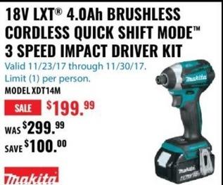 ACME Tools Black Friday: Makita 18V LXT 4.04 Ah Brushless Cordless Quick Shift Mode 3 Speed Impact Driver Kit for $199.99