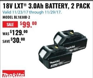 ACME Tools Black Friday: Makita 18V LXT 3.0Ah 2 Pk. Battery for $99.00