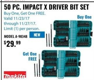 ACME Tools Black Friday: Makita 50 Pc. Impact Driver Bit Set for $29.99