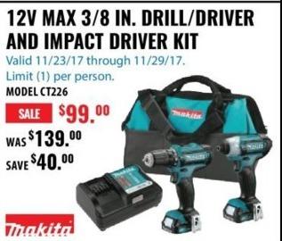 ACME Tools Black Friday: Makita 12V Max 3/8 In. Drill/Driver & Impact Driver Kit for $99.00