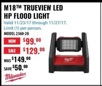 ACME Tools Black Friday: Milwaukee M18 Trueview LED HP Flood Light for $99.00