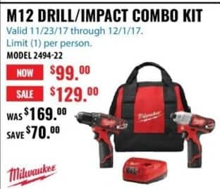 ACME Tools Black Friday: Milwaukee M12 Drill/Impact Combo Kit for $99.00