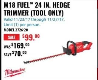 ACME Tools Black Friday: Milwaukee M18 Fuel 24 In. Hedge Trimmer for $99.00