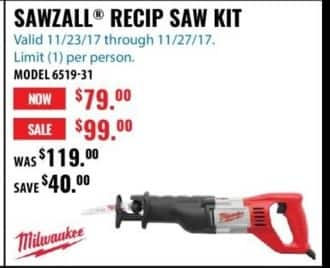 ACME Tools Black Friday: Milwaukee Sawzall Recip Saw Kit for $79.00
