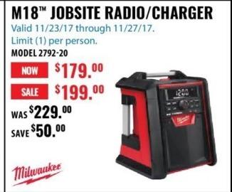 ACME Tools Black Friday: Milwaukee M18 Jobsite Radio/Charger for $179.00