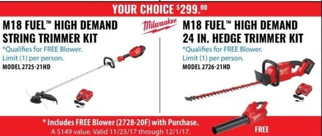 ACME Tools Black Friday: Milwaukee M18 Fuel High Demand String Trimmer Kit + FREE Blower W/ Purchase for $299.00