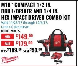 ACME Tools Black Friday: Milwaukee M18 Compact 1/4 In. Hex Impact Driver Combo Kit for $149.99