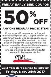 Craft Warehouse Black Friday: One Regular Priced Item - 50% OFF