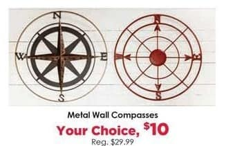 Craft Warehouse Black Friday: Metal Wall Compasses for $10.00