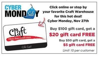 Craft Warehouse Black Friday: $5 Gift Card FREE - w/ Purchase Of A $50 Gift Card