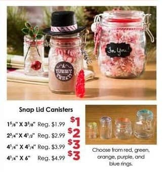 Craft Warehouse Black Friday: Snap Lid 4 1/4 X 4 1/4 Canisters for $3.00