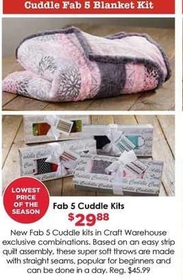 Craft Warehouse Black Friday: Cuddle Fab 5 Cuddle Kits for $29.88