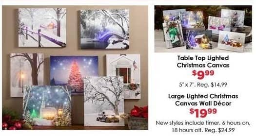 Craft Warehouse Black Friday: Large Lighted Christmas Canvas Wall Decor w/ Timer for $19.99