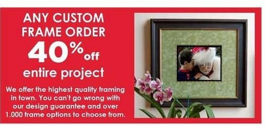 Craft Warehouse Black Friday: Custom Frame Entire Project Order - 40% OFF